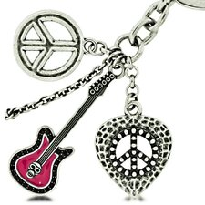 Guitar and Peace Sign Keychain