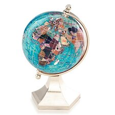 <strong>Alexander Kalifano</strong> Gemstone Globe with Opalite Ocean and Contempo Stand