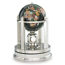 Gemstone Globe with Opalite Ocean and Galleon Rotating Base