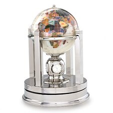 <strong>Alexander Kalifano</strong> Gemstone Globe with Opalite Ocean and Galleon Rotating Base