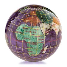 Gemstone Globe Paperweight with Opalite Ocean