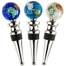 <strong>Alexander Kalifano</strong> Gemstone Globe with Opalite Ocean on a Wine Bottle Stopper (Set of 3)