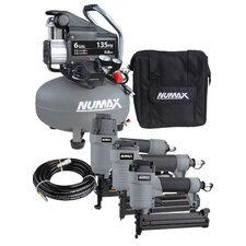 NuMax 6 Gallon Compressor and 3 Nailer Combo Kit