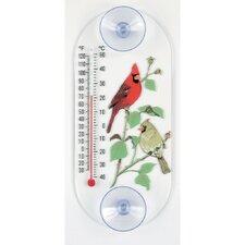 Cardinal Pair Window Thermometer Weathervane
