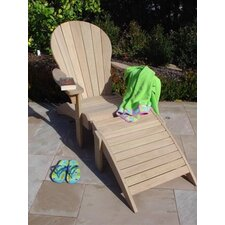 Roble Wood Adirondack Chair with Ottoman