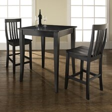 <strong>Crosley</strong> Three Piece Pub Dining Set with Cabriole Leg Table and Barstools