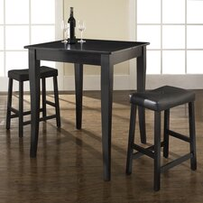 Three Piece Pub Dining Set with Cabriole Leg Table and Saddle Seat Barstools in Black