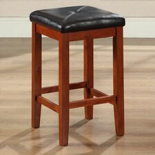 "Upholstered Square Seat 24"" Barstool in Classic Cherry"
