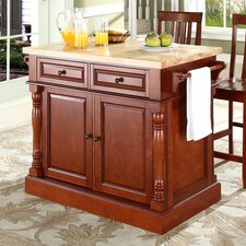 Kitchen Island Set with Butcher Block Top