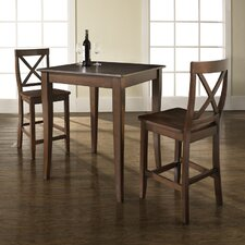 Three Piece Pub Dining Set with Cabriole Leg Table and X-Back Barstools in Vintage Mahogany