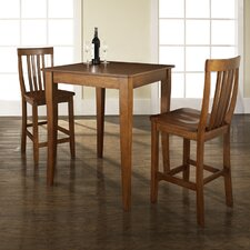 <strong>Crosley</strong> Three Piece Pub Dining Set with Cabriole Leg Table and Barstools in Classic Cherry