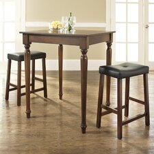 Three Piece Pub Dining Set with Turned Leg Table and Saddle Seat Barstools in Vintage Mahogany