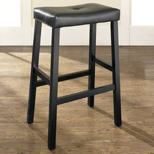 "Upholstered 29"" Saddle Seat Bar Stool in Black Finish"