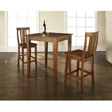 <strong>Crosley</strong> Three Piece Pub Dining Set with Cabriole Leg Table and Shield Back Barstools in Classic Cherry
