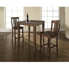Three Piece Pub Dining Set with Cabriole Leg Table and Shield Back Barstools in Vintage Mahogany