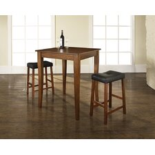 Three Piece Pub Dining Set with Cabriole Leg Table and Saddle Seat Barstools in Classic Cherry