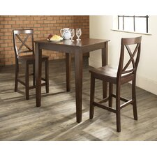 Three Piece Pub Dining Set with Tapered Leg Table and X-Back Barstools in Vintage Mahogany