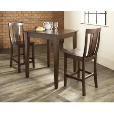 Three Piece Pub Dining Set with Tapered Leg Table and Shield Back Barstools in Vintage Mahogany