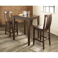 Three Piece Pub Dining Set with Tapered Leg Table and Barstools in Vintage Mahogany