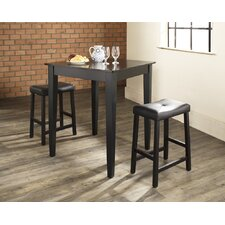 Three Piece Pub Dining Set with Tapered Leg Table and Saddle Seat Barstools in Black