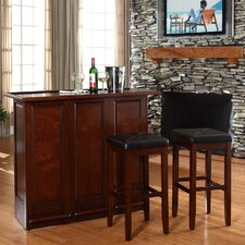 "<strong>Crosley</strong> Mobile Folding Bar in Vintage Mahogany with 29"" Upholstered Square Seat Stool in Mahogany"