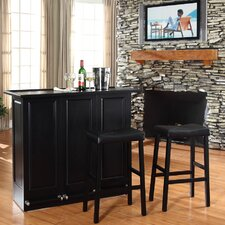 "<strong>Crosley</strong> Mobile Folding Bar in Black with 29"" Upholstered Saddle Stool in Black"