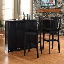 "<strong>Crosley</strong> Mobile Folding Bar in Black with 30"" Shield Back Stool in Black"