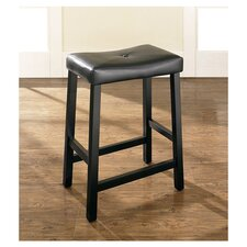 "Upholstered 24"" Saddle Seat Bar Stool in Black Finish"