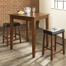 Three Piece Pub Dining Set with Tapered Leg Table and Saddle Seat Barstools in Classic Cherry
