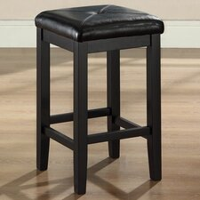 "Upholstered Square Seat 24"" Barstool in Black"
