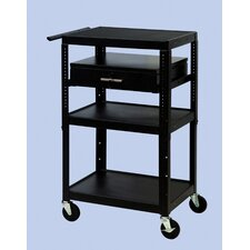 Wide Body Adjustable Equipment TV Cart
