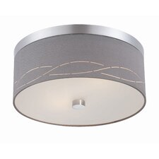 Silver Laser 2 Light Flush Mount
