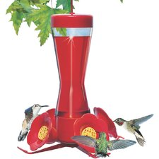 Pinch Waist Glass Hummingbird Feeder in Red