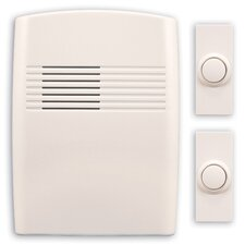 Wireless Battery Operated Door Chime Kit with Two Push Buttons