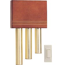 Wireless Battery Operated Door Chime Kit with Solid Cherry Cover and Satin Brass Tubes