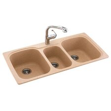 "Swanstone Classics 44"" x 22"" Triple Bowl Kitchen Sink"