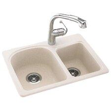 "Swanstone Classics 25"" x 18"" Space Saver Double Bowl Kitchen Sink"