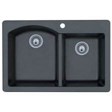"Swanstone Classics 33"" x 22"" Double Bowl Kitchen Sink"