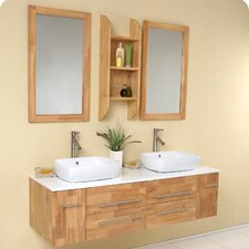 "Stella 59"" Bellezza Modern Vessel Bathroom Vanity Set with Double Sink"