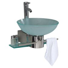 "Vetro 17.75"" Cristallino Modern Glass Bathroom Vanity Set with Frosted Vessel Sink"