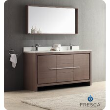 "Allier 60"" Modern Bathroom Vanity Set with Double Sink"