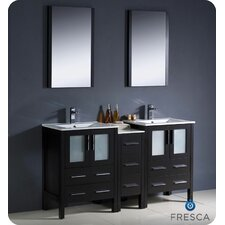 "<strong>Fresca</strong> Torino 60"" Modern Double Sink Bathroom Vanity Set with Side Cabinet and Undermount Sinks"