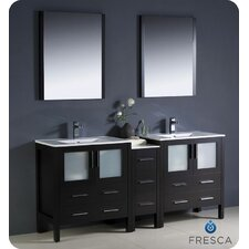 "Torino 72"" Modern Double Sink Bathroom Vanity Set with Side Cabinet and Undermount Sinks"