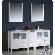 "<strong>Fresca</strong> Torino 72"" Modern Double Sink Bathroom Vanity Set with Side Cabinet and Undermount Sinks"