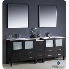 "<strong>Fresca</strong> Torino 84"" Modern Double Sink Bathroom Vanity Set with Side Cabinet and Undermount Sinks"