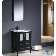 "Torino 24"" Single Modern Bathroom Vanity Set with Mirror"