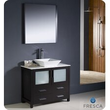"Torino 35.8"" Modern Bathroom Vanity Set with Vessel Sink"