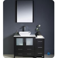 "Torino 42"" Modern Bathroom Vanity Set with Side Cabinet and Vessel Sink"
