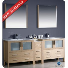 "Torino 84"" Modern Double Sink Bathroom Vanity Set with Side Cabinet and Undermount Sinks"