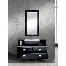 "Moselle 47"" Modern Glass Bathroom Vanity Set with Mirror"